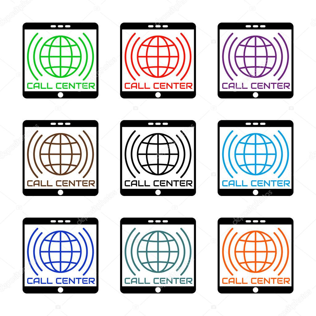 Background image vertical center - Set Icon Call Center In Flat Style Logo Colored Globe Inside Vertical Black Mobile Device With Sound Waves Icon Smartphone Isolated On White Background