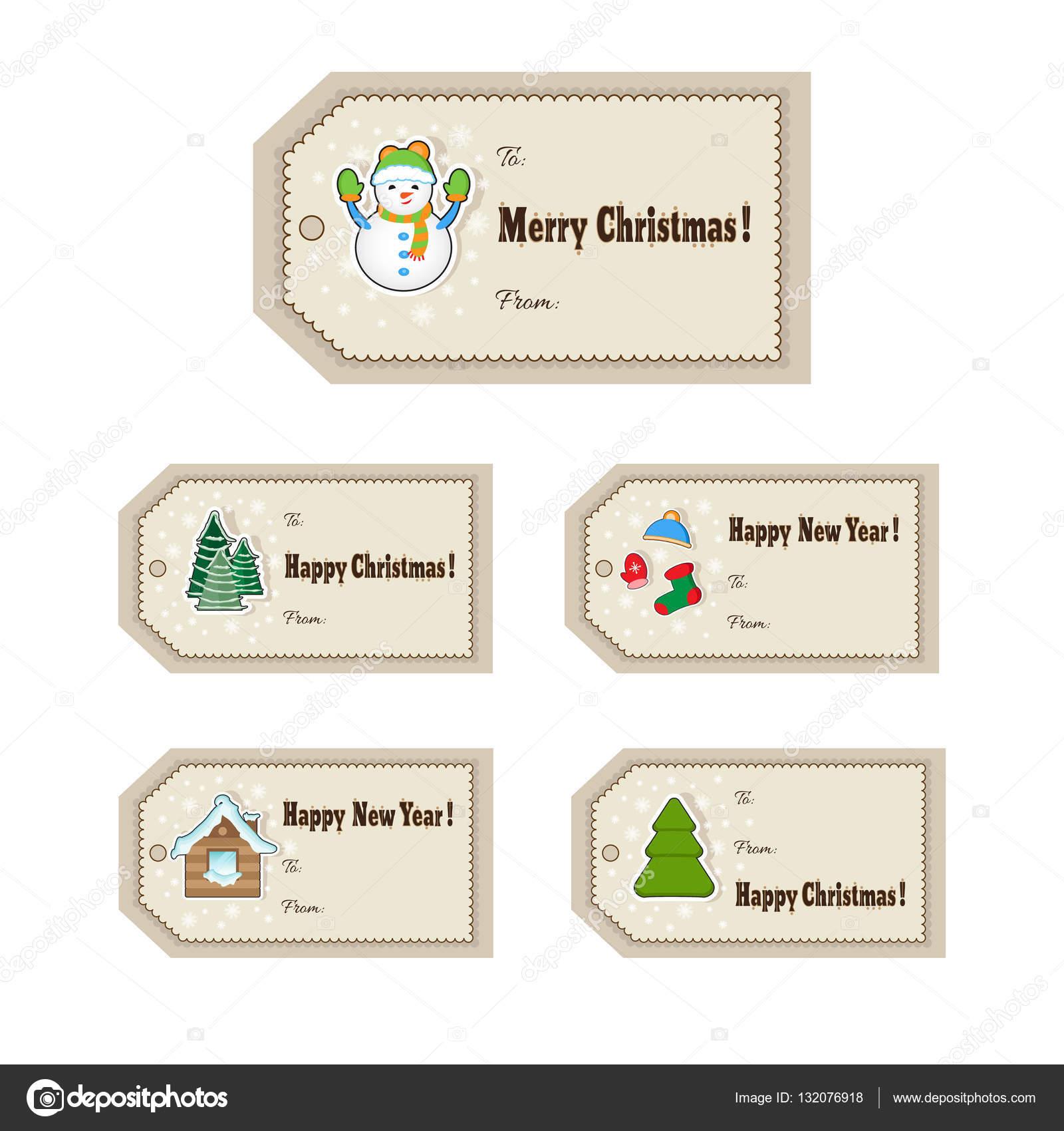 Weihnachtsgeschenk-tags gesetzt. Süße Weihnachten Etiketten. Vektor ...
