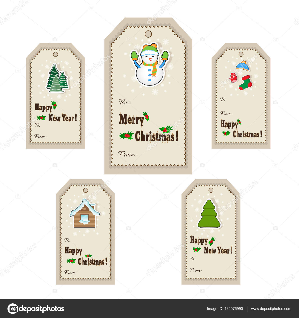 Weihnachtsgeschenk-Tags und Labels. Vektor-Illustration. Vorlage für ...
