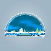 Empty blue shelves decorated for Christmas and New Years theme. Template button. Design for the menu bar, decoration website. Shelves for online shopping for the New Year, Christmas and winter sales