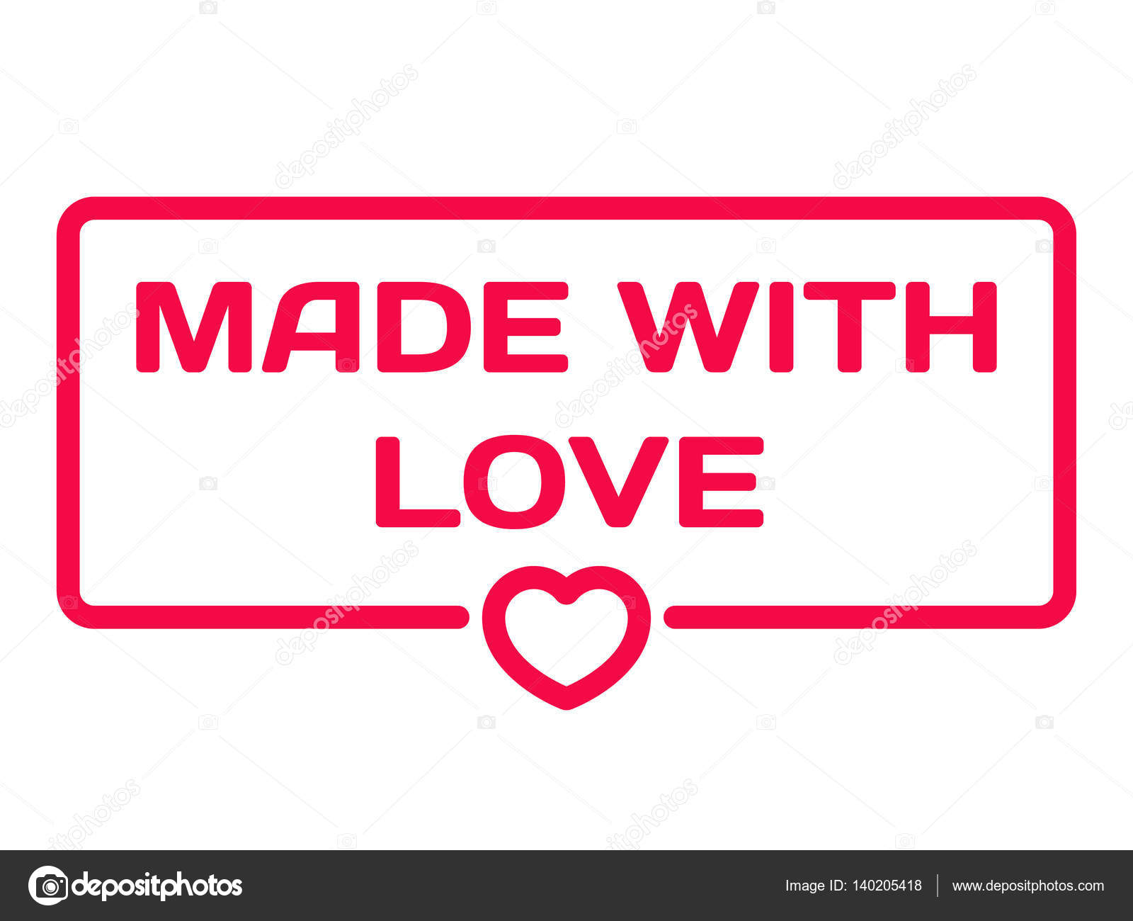 Wykonane Z Miłości Odznaka Z Serca Ikona Płaskie Wektor Ilustracja