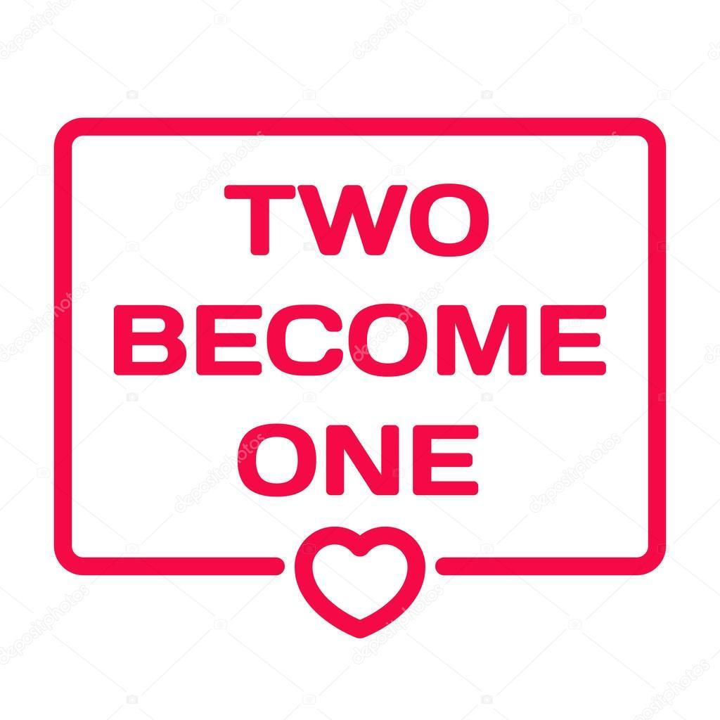 deux devenir un badge avec coeur ic ne plate vector illustration sur fond blanc th me de. Black Bedroom Furniture Sets. Home Design Ideas