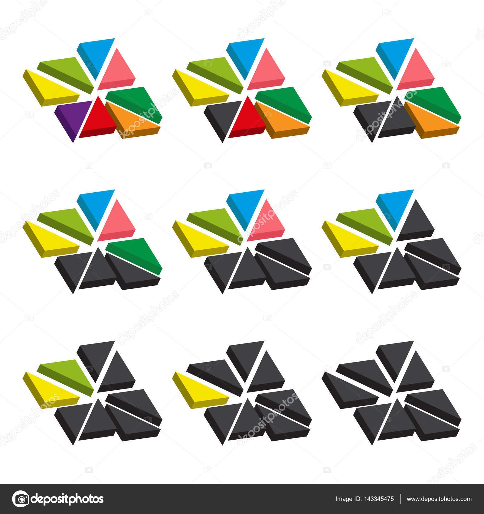 Juego de cartas de colores de triángulos. Gráficos sectoriales de ...