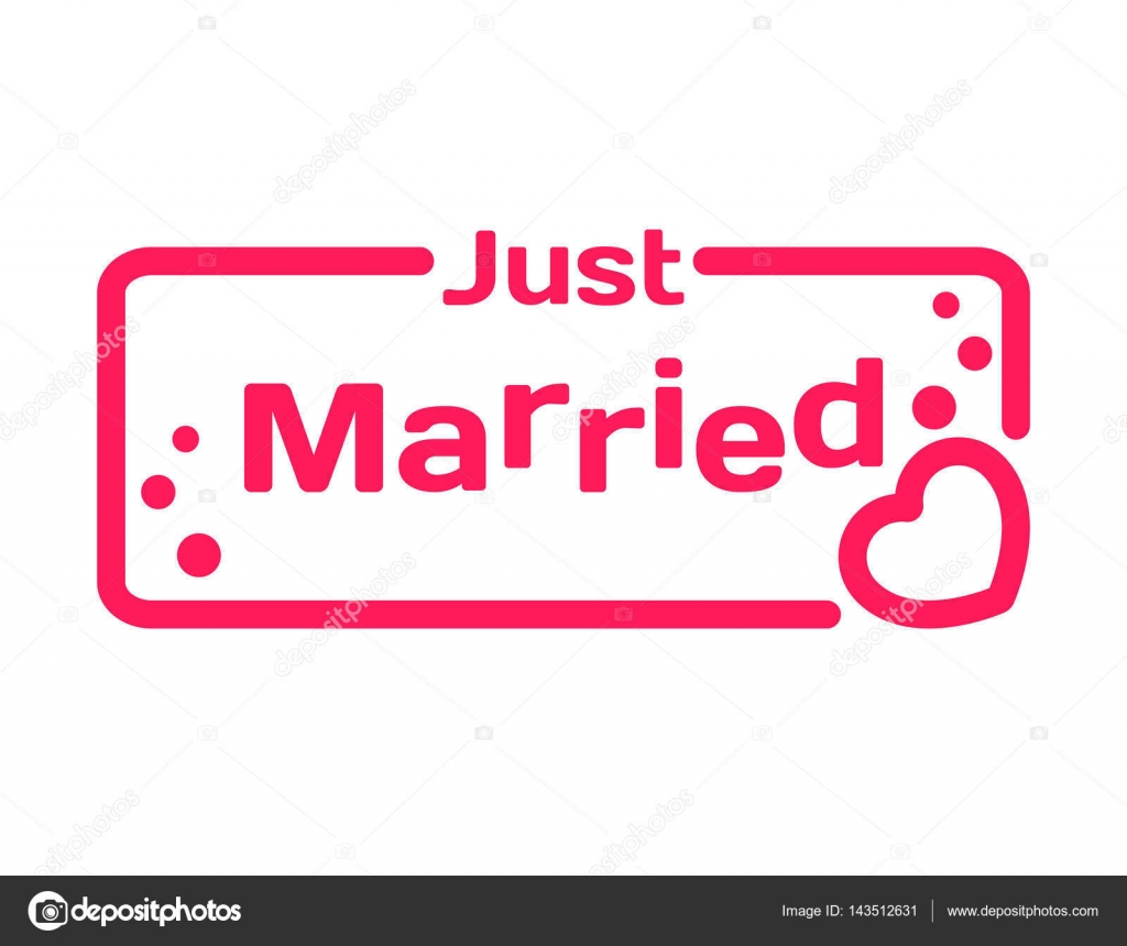 Just Married Quotes Just Married Badge With Heart Icon Flat Vector Illustration On