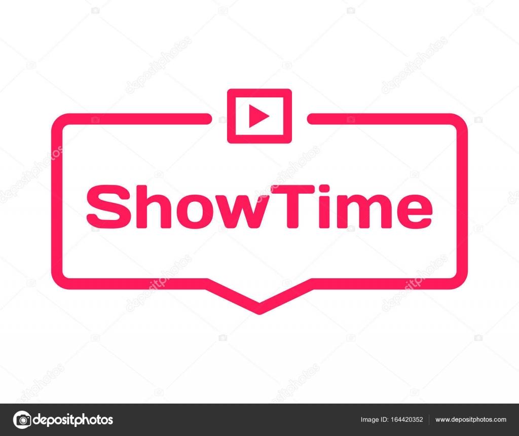 Showtime Vorlage Sprechblase im flachen Stil auf weißem Hintergrund ...