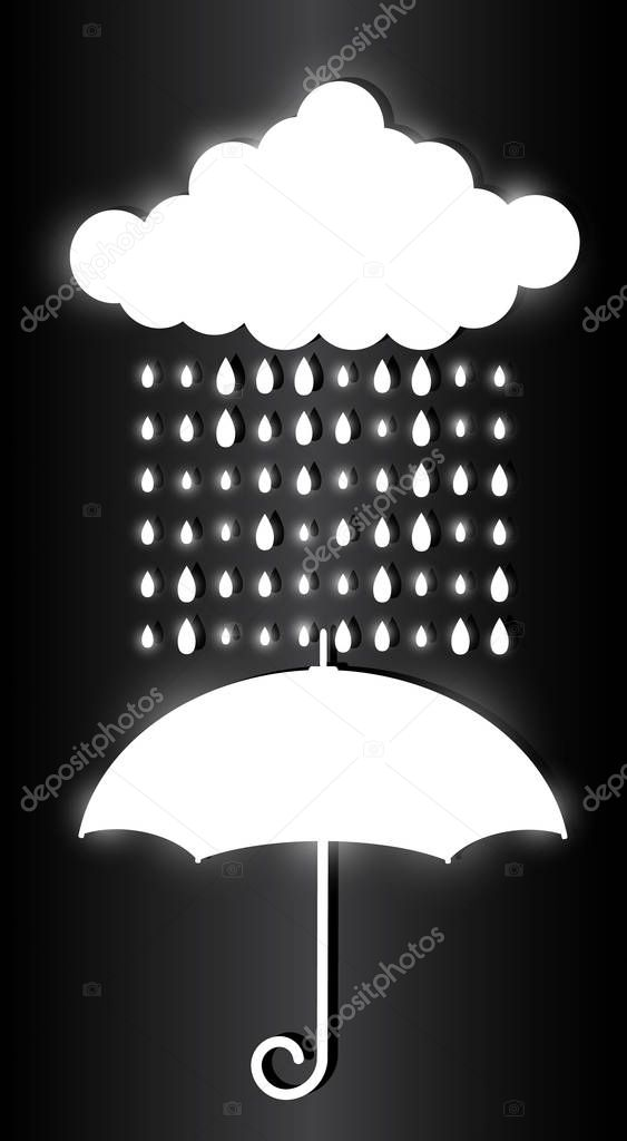 White cloud, raindrops and umbrella isolated on dark background. Glowing light effects. Stylish flickering illustration