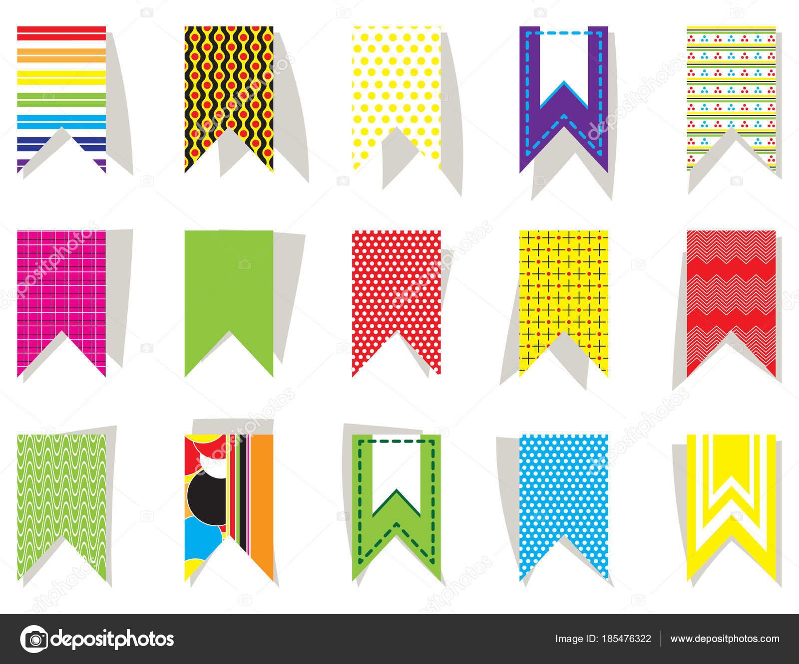 Zestaw Jasnych Kolorowych Flag Na świąteczny Wystrój Do Druku Na