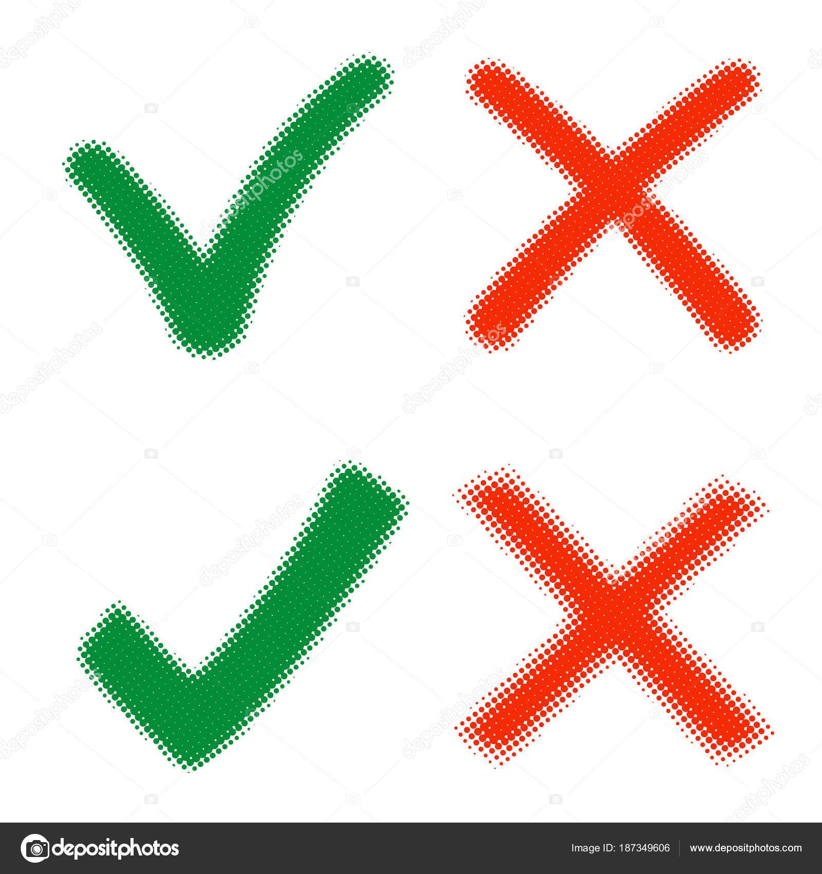 Mark X En V In Gekleurde Halftoon Groene Haken En Rode Kruizen Ja