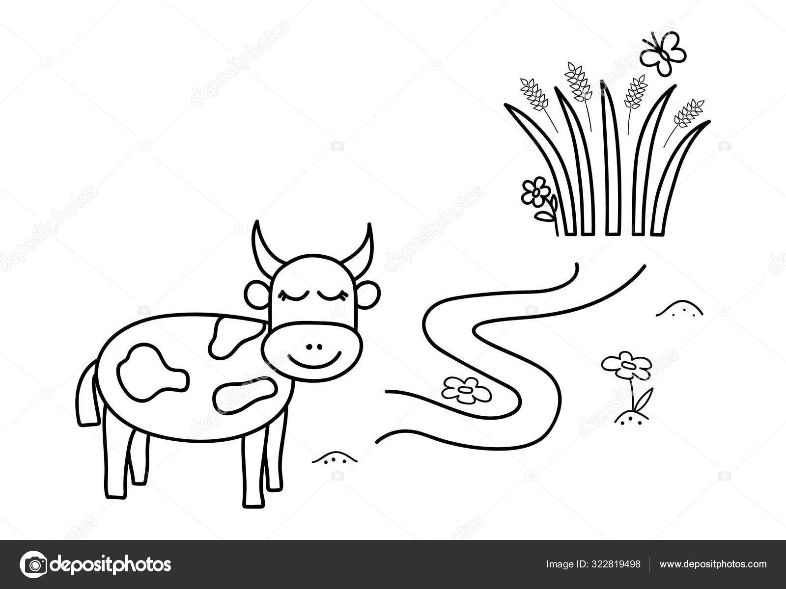 black coloring pages with maze cartoon cow and grass kids education art game template design with pet on white background outline vector stock vector c domira 322819498 https depositphotos com 322819498 stock illustration black coloring pages with maze html