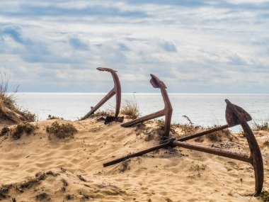 Natural Cemetery of Marine Anchors at Barril Beach, Portugal