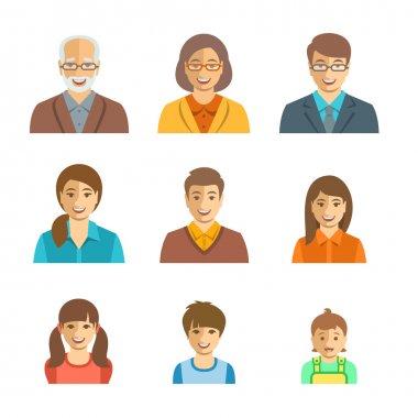 Family members happy faces flat avatars set