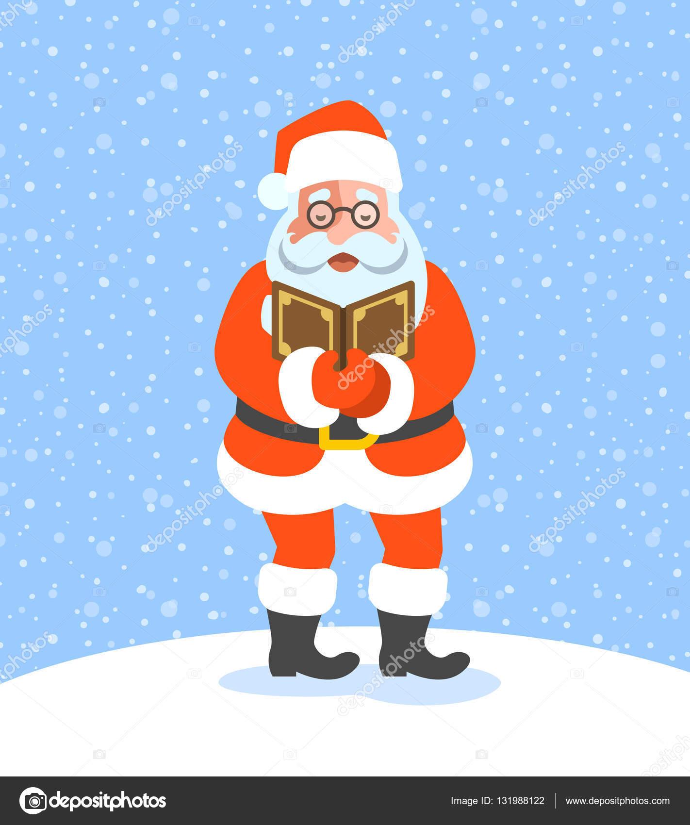 Santa Claus Weihnachten singen Weihnachtslieder — Stockvektor ...