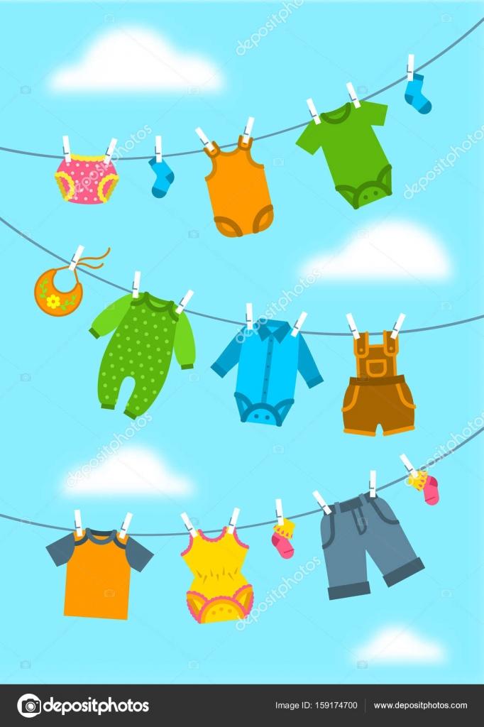 Дитячий одяг висить на тросах з прищіпки — Стоковий вектор — вектор ... 13088695f5541