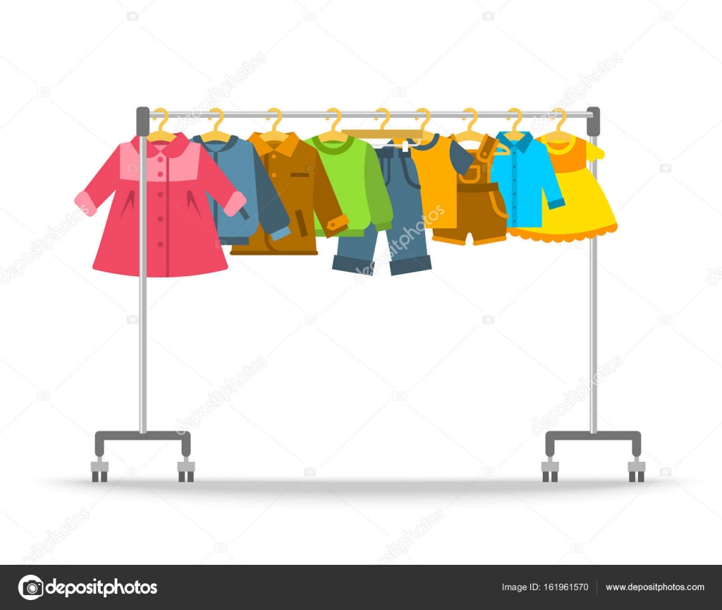 Kids clothes hanging on hanger rack — Stock Vector ...