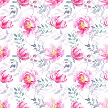 """Картина, постер, плакат, фотообои """"Seamless pattern with wild pink roses , elegant pastel floral elements on a white background..Hand painted in watercolor."""", артикул 335035424"""