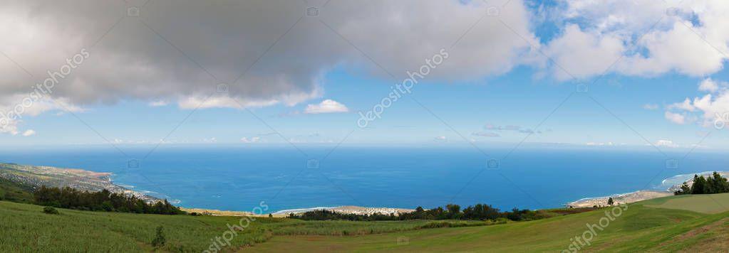 panoramic view of saint leu, west coast, reunion island,