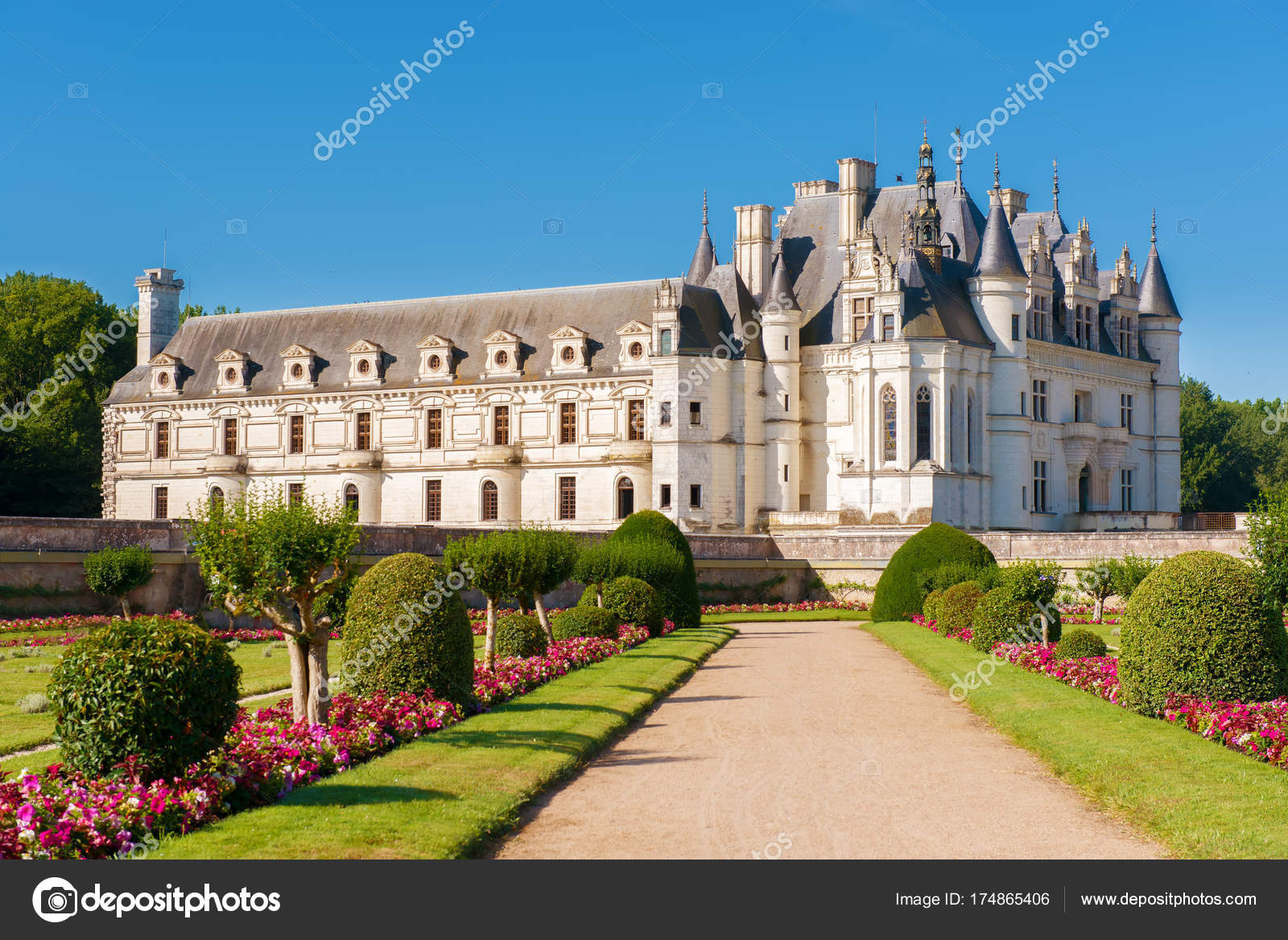 Chenonceau chateau built over the cher river loire valleyfranceon gradient blue sky background