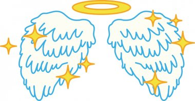 Cute Pop Angel wings with angel ring and glitter