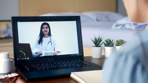 sick woman use video conference, make online consultation with doctor on notebook computer, patient ask doctor about illness and medication via video call. Telehealth, Telemedicine and online hospital