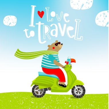 Vector illustration of cute teddy bear on a moped and birds
