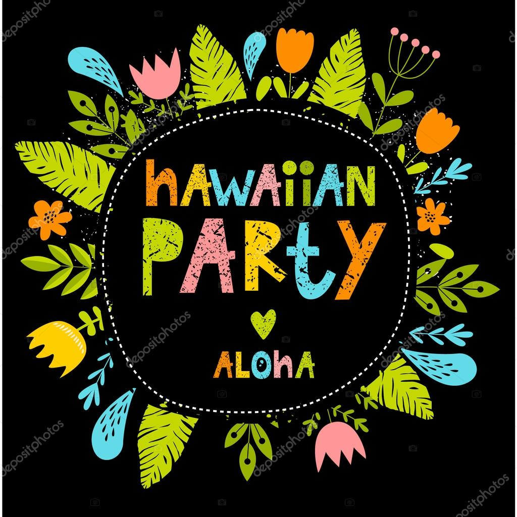 Vector bright font illustration with flowers hawaiian party frame vector bright font illustration with flowers hawaiian party frame aloha summer colorful it can be used as a poster postcard invitation stopboris Gallery