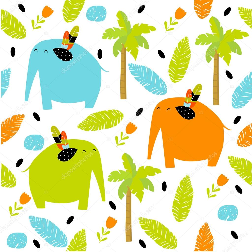 Vector seamless pattern with colorful cartoon elephants, flowers, palm trees, foliage. Bright multicolored pattern. Safari, Africa, the Indian jungle.