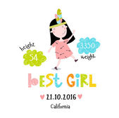 Font Vector illustration with cute cartoon girl and place for text. Important dates, metric, weight, height. It can be used as a poster, postcard invitation. Birthday