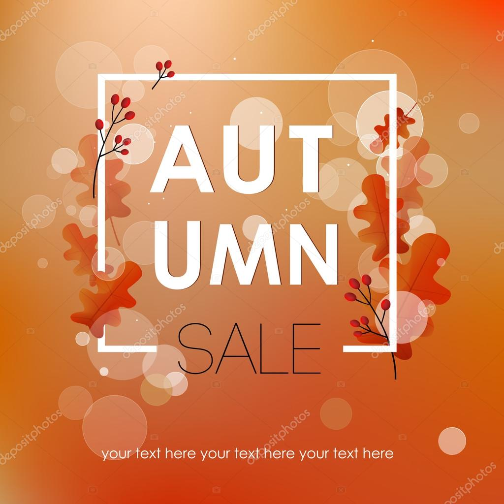 autumn sales flyer template with an inscription bright autumn