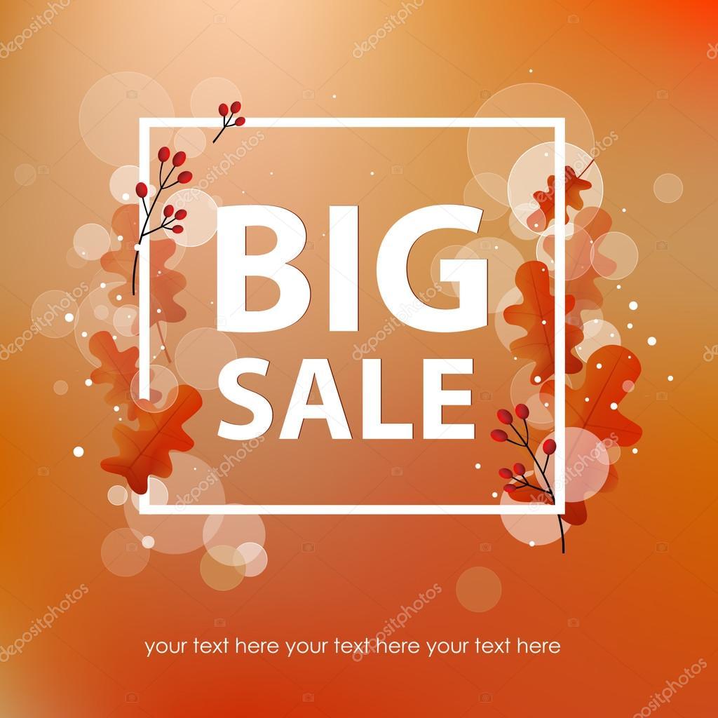 Plantilla flyer ventas grande con una inscripción. Las hojas de ...