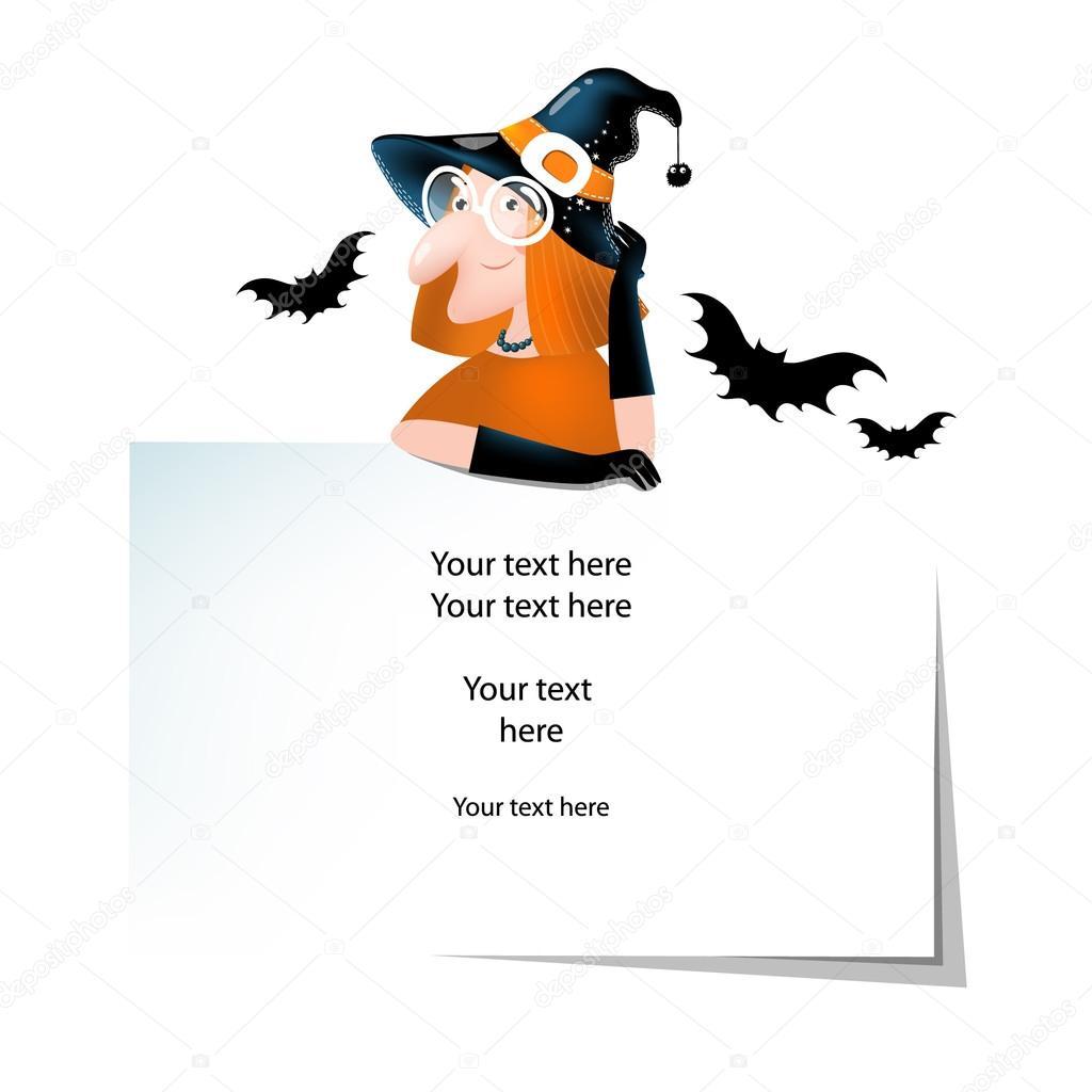 Vettore Per Le Cose Di Halloween Con La Strega Carino Cartoon, Pipistrelli  E Posto Per Il Vostro Testo. È Possibile Avere Utilizzare Come Un Poster,  ...