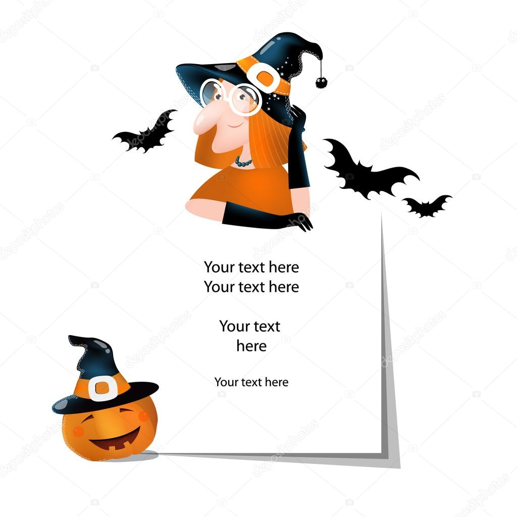 Wektor Ilustracja Na Halloween Rzeczy Z Kreskówka Czarownica Dyni