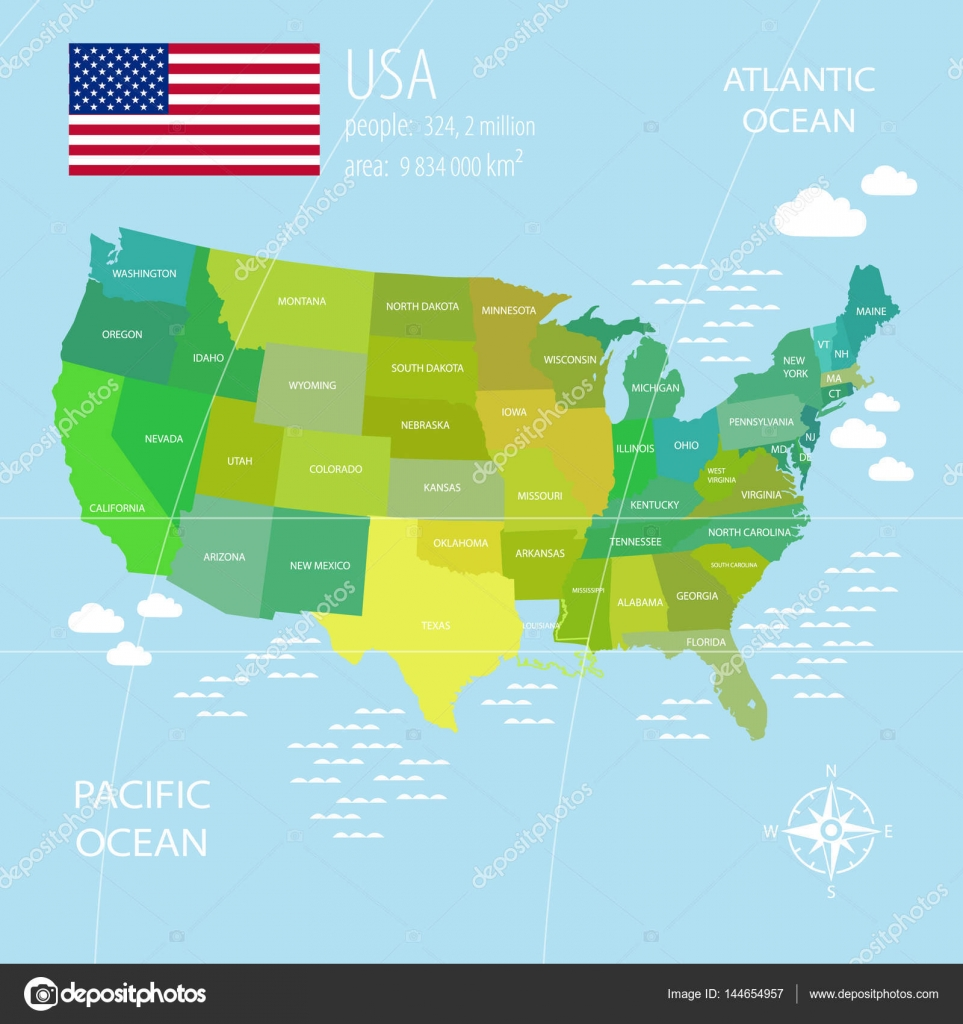 Vector USA Map with different colors for each country ...