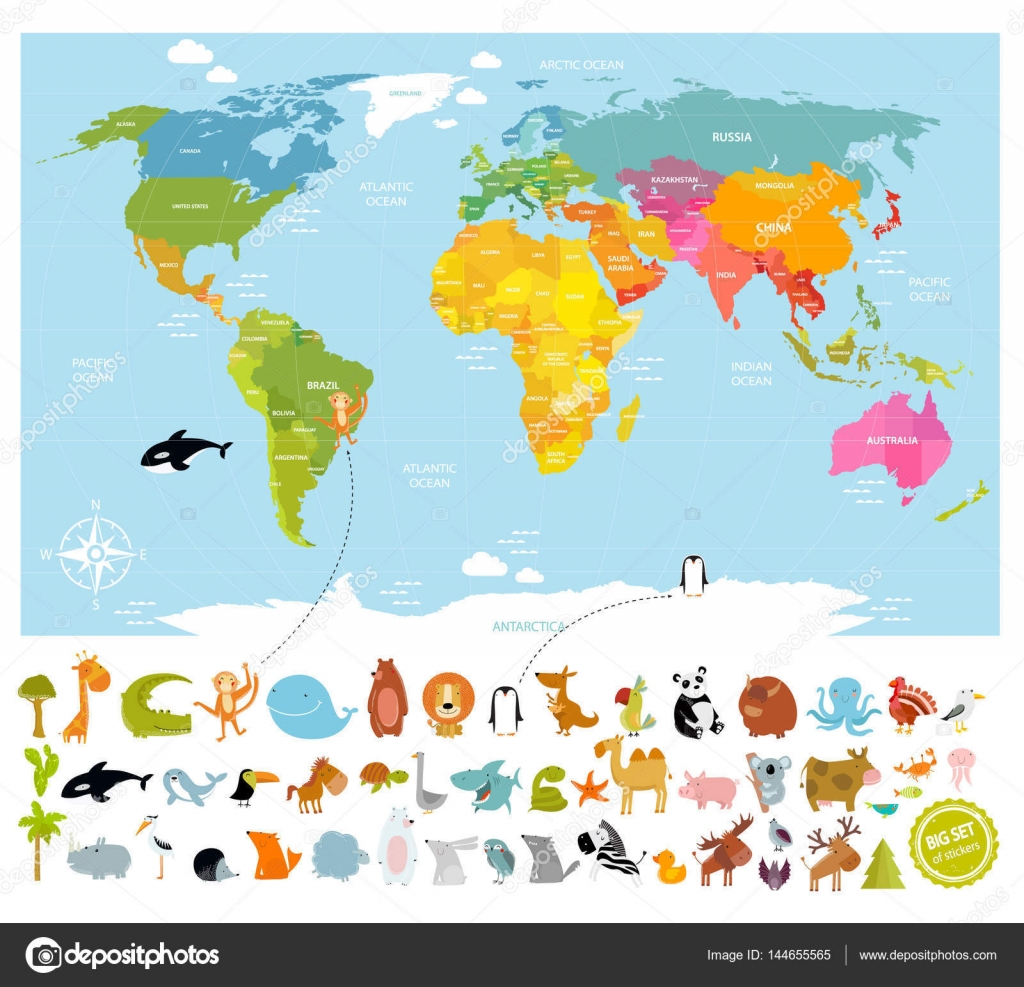 Vector world map with lots of animals stock vector vector world map with lots of animals stock vector gumiabroncs Image collections