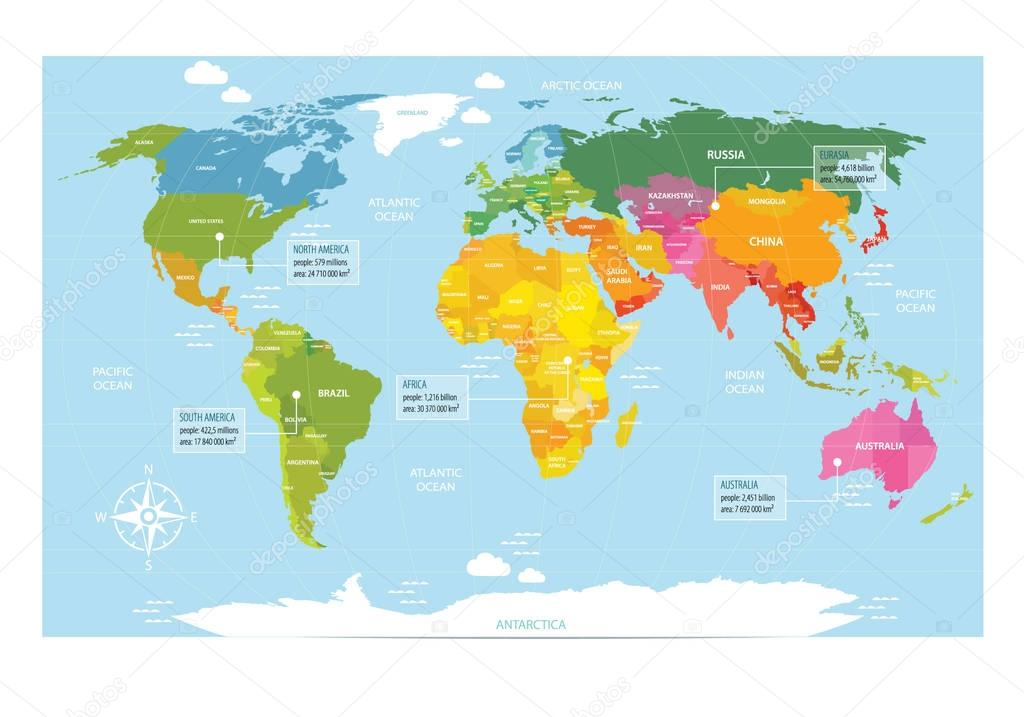 Picture of: Vector Map Of The World With Countries America Eurasia Australia Africa Antarctica It Can Be Used As A Poster For Teaching Children Premium Vector In Adobe Illustrator Ai Ai