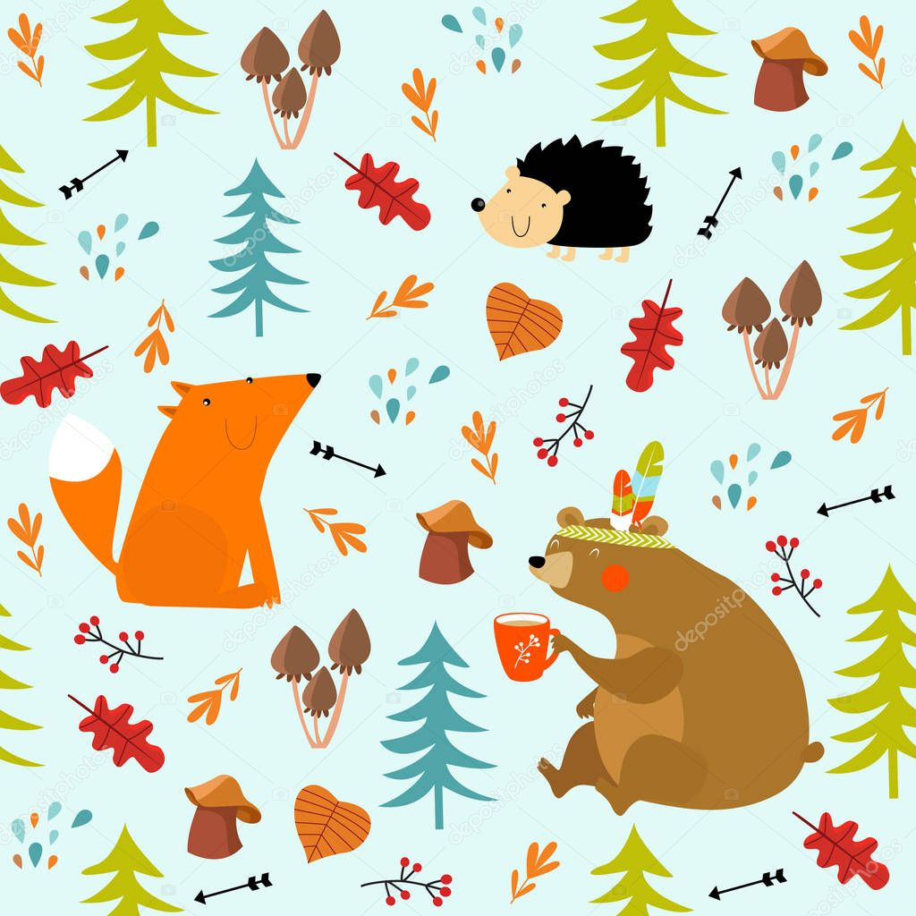 Vector forest seamless pattern with animals