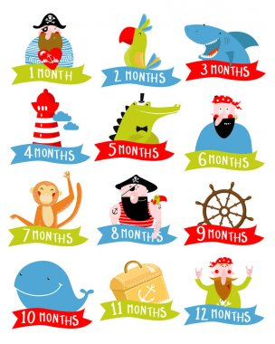 Pirate Vector set of stickers for children 1 - 12 months.