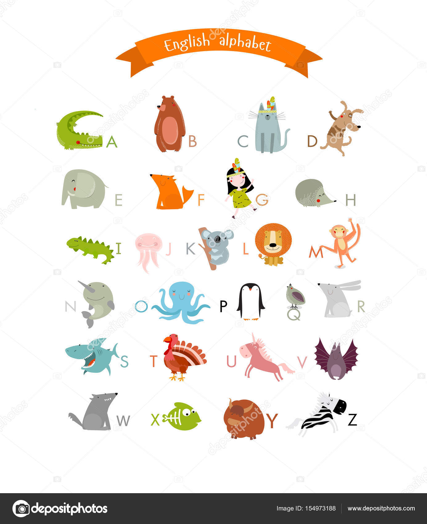 かわいい動物と子供たちの英語のアルファベットをベクトル ストック