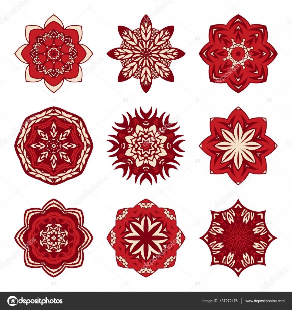 Weihnachten Mandala festlegen — Stockvektor © astya #137272176