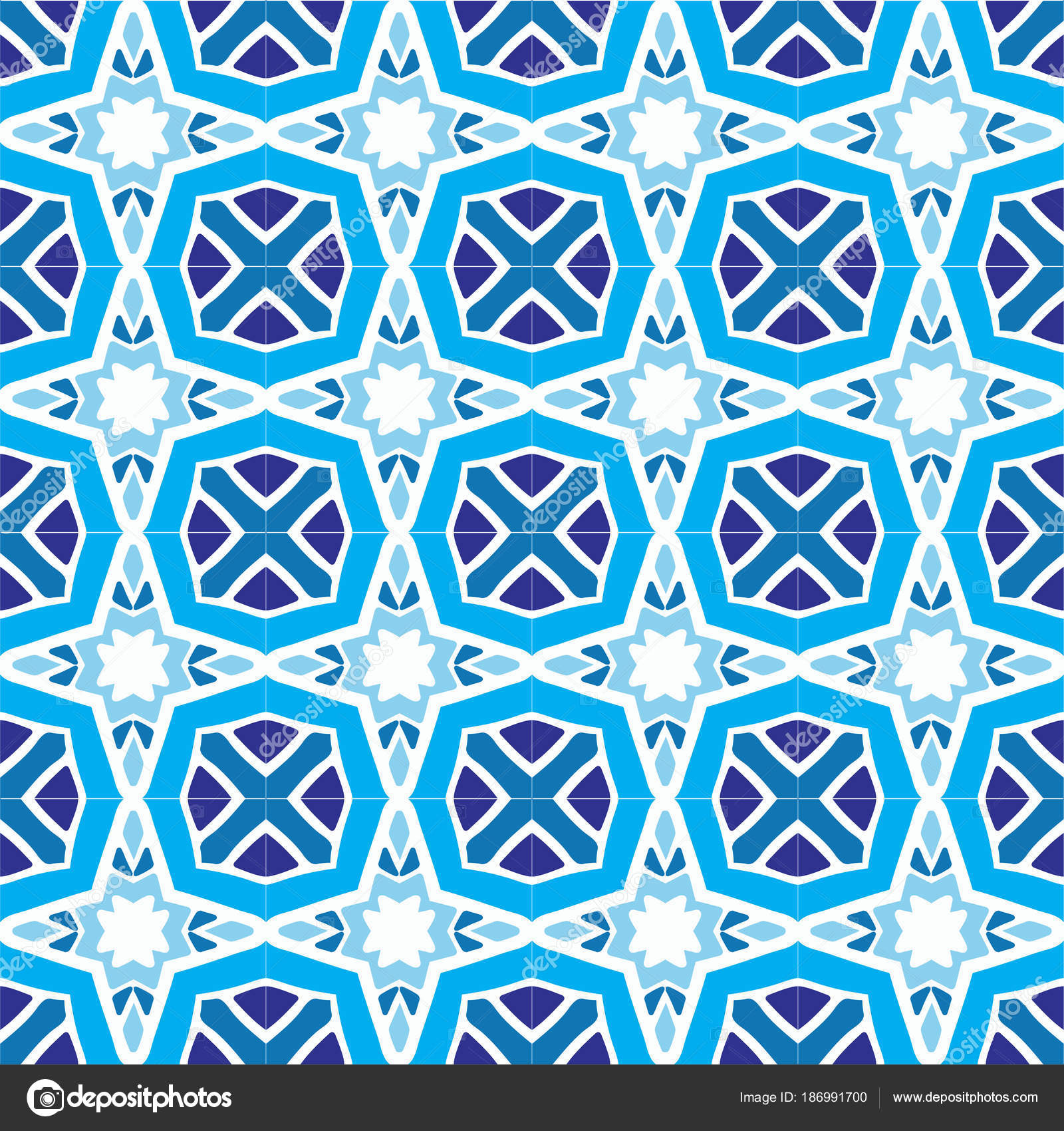Abstract Blue Square Tile Geometric Pattern Stock Vector
