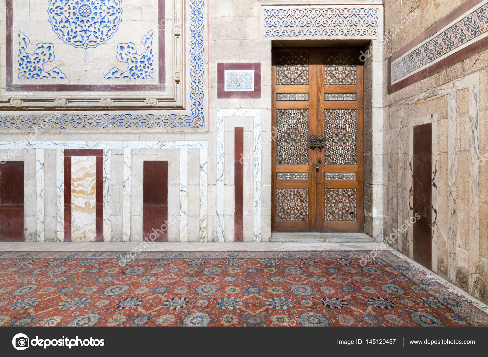 Cairo, Egypt   February 18, 2017: Interior Of Al Rifaii Mosque (Royal  Mosque) With Decorated Marble Wall And Ornate Wooden Door, Located In Front  The Cairo ...