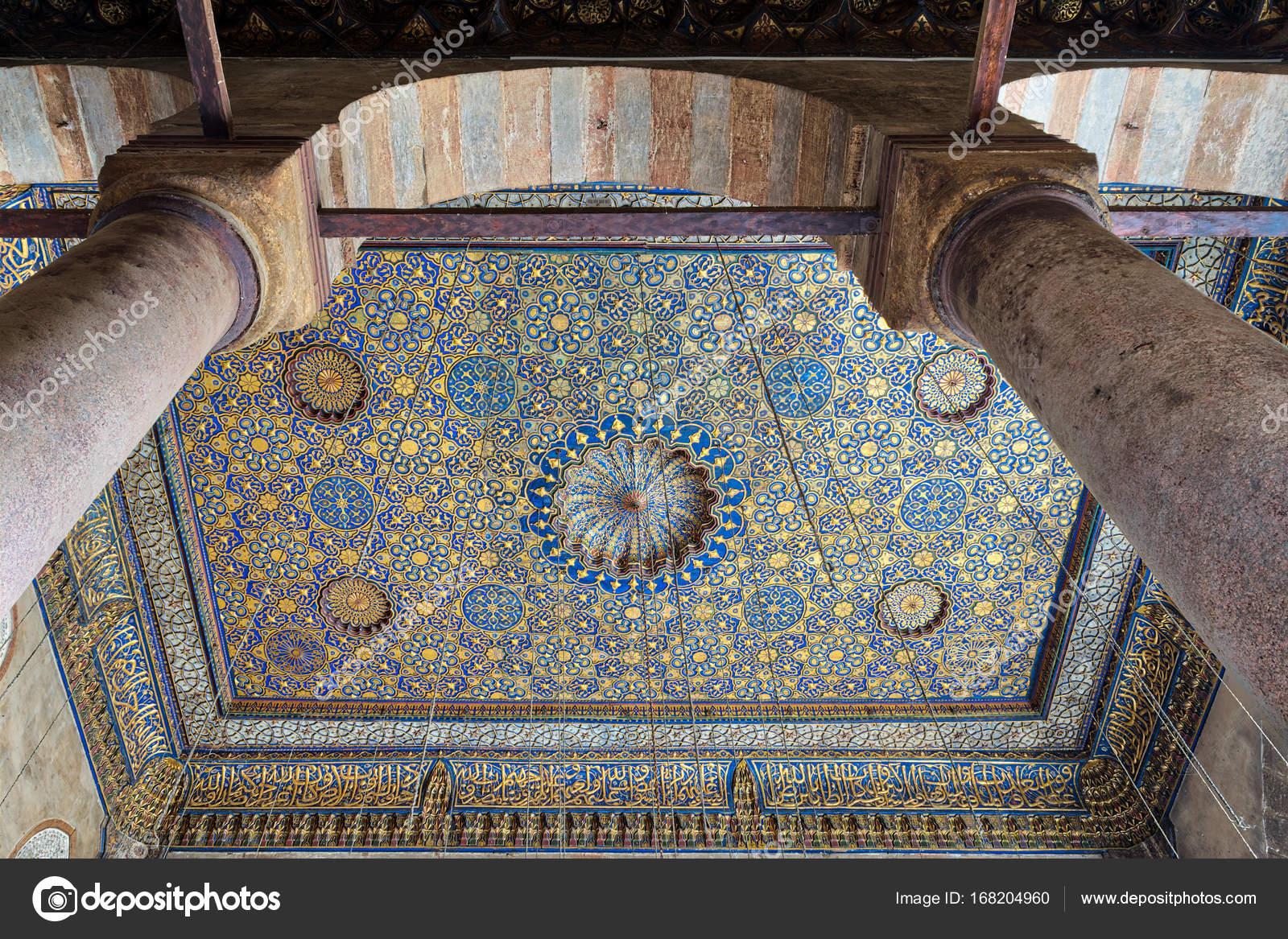 Recargado de techo azul y oro floral patrón decoraciones en la ...
