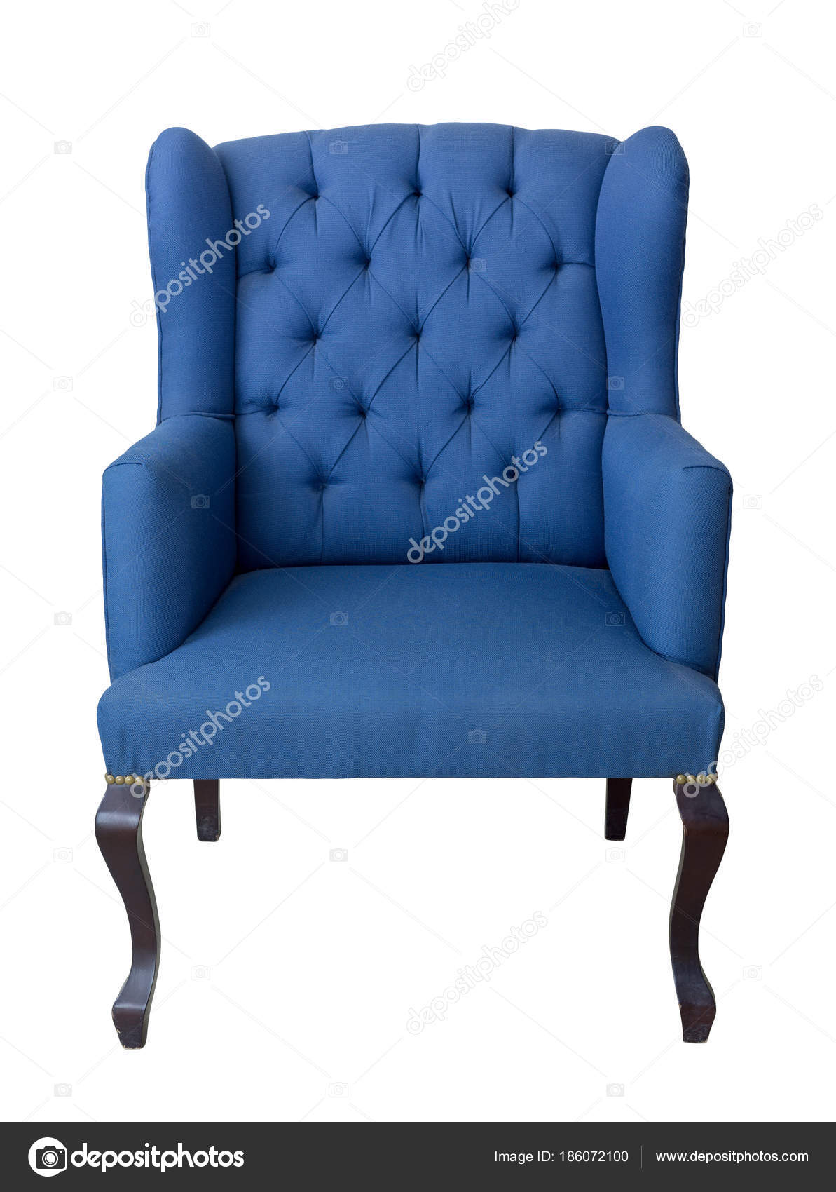 French Blue Wingback Armchair With Dark Brown Wooden Legs