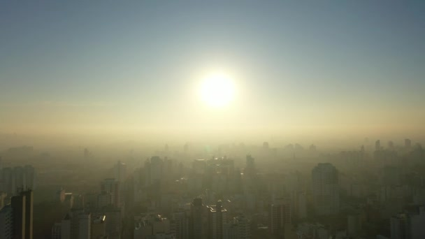 Panoramic view of foggy sunrise in the city life scene. Great landscape