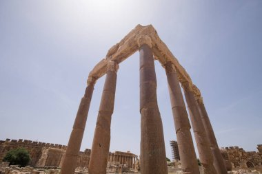The Great Court. The ruins of the Roman city of Heliopolis or Baalbek in the Beqaa Valley. Baalbek, Lebanon - June, 2019