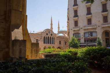 Saint George Greek Orthodox Cathedral and the Blue Mosque in downtown Beirut. Beirut, Lebanon - June, 2019