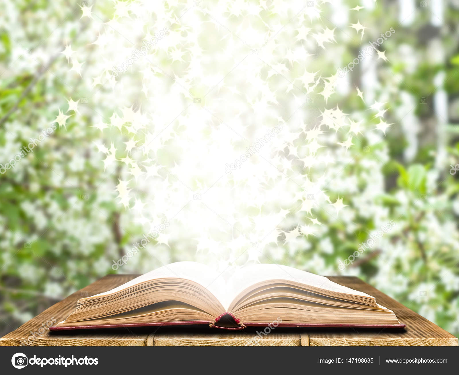 Magic Book on a light nature background — Stock Photo