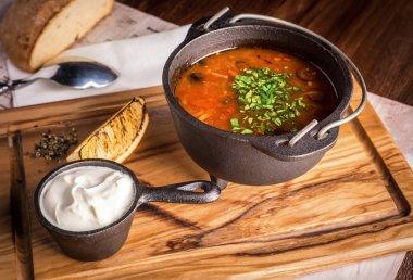 Fresh soup Solyanka with lemon and sour cream