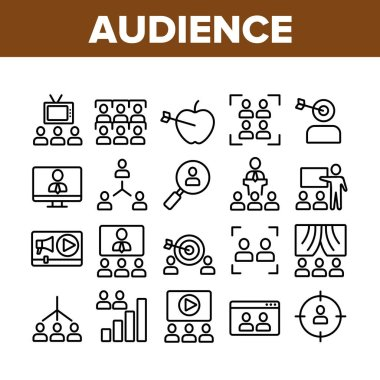 Audience Social Group Collection Icons Set Vector Thin Line. Human On Computer Screen And Magnifier, Video Player And Web Site Audience Concept Linear Pictograms. Monochrome Contour Illustrations icon