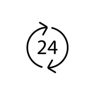 """Картина, постер, плакат, фотообои """"Вектор иконок 24-часового режима работы. Иллюстрация изолированного контурного символа"""", артикул 326206404"""