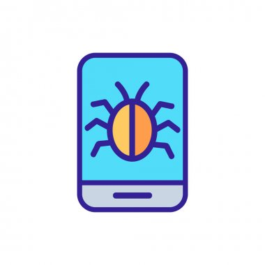 Mobile virus icon vector. A thin line sign. Isolated contour symbol illustration icon